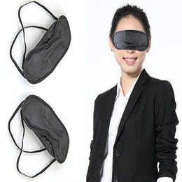 Wholesale Sleep Mask Wholesaler - 50 Pcs Lot Gift Travel Sleeping Eye Mask Black Shade Blindfold Eye Patch Night Economic free shipping JKE0004