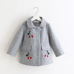 Wholesale Cotton Lined Coats - Sweet Girls Wool Blend Coats Outwears Fall Winter Cute Jackets Gray and Red Color Holiday Clothing