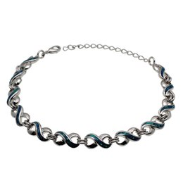 "Wholesale 925 Opal Bracelet - Natural Gemstone Blue Opal 8 Design 925 Sterling Silver Links Bracelets Fashion Tendy Chain 8.25"" inch Free Shipping"