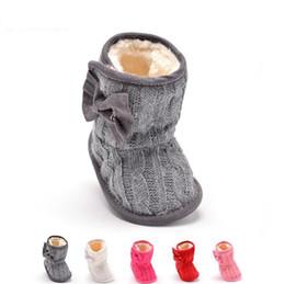 Wholesale Crochet Snow Boots - Baby Girl Warm Walkers Shoes Winter Crochet Knit Bowknot Shoes Kids Prewalk Faux Fleece Snow Boot Soft Sole Kids Wool Baby Shoes F371