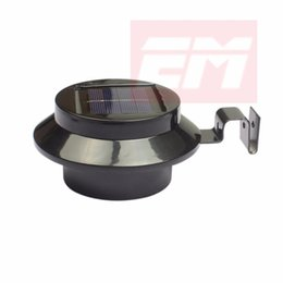 Wholesale Sconces Led - Wholesale- 3 LED Black Solar Powered Fence Gutter Light Outdoor Garden Yard Wall Pathway Lamp Waterproof Wall Lamp Sconce WSL0013