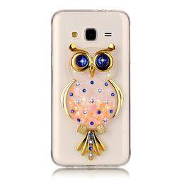 Wholesale Powder Stand - Owl case for Samsung galaxy J3   J3 2016 J310 TPU soft shell with kickstand holder stand quicksand flash powder sapphire crystal diamond