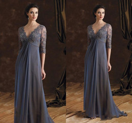 Wholesale Grey Sheath Pleated Dress - Grey Half Sleeve Mother Of The Bride Groom Dresses With V Neck Appliques Lace Fleats Floor Length Formal Evening Dress Prom Gowns Long