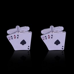 Wholesale Fine Jewelry Cufflinks - The New Poker 4A Fine French Cufflinks Ace Novelty Cufflinks Poker Playing Cards Jewelry Casino Cuff Link For Men Gift