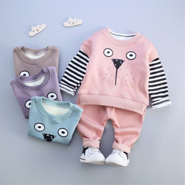 Wholesale 3pcs Suit Sport Hoodies - Wholesale- Infant Winter Hello Kitty Warm Cotton Hoodies Jackets Pants 3pcs Sport Suit Clothing Baby Boys Girls Velvet Thicken Sweatshirts
