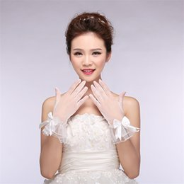 Wholesale Direct White Dress - The Bride Wedding Dress Gloves All Flowers Satin Stitch Pearl White Gloves Factory Direct Sale Price