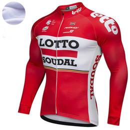 Invierno de la chaqueta de ciclismo online-2018 Lotto red Pro team Winter Fleece Cycling Windjacket térmica mtb Biking Coat mens warm up jacket