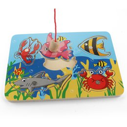 Wholesale Baby Jigsaw - Cute Ocean Animal Crab Fish Baby Puzzle Preschool Infant Magnetic Fishing Wooden Toy 3D Jigsaw Children Educational Gift Toy