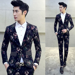 Wholesale Dj Jacket - Boys Floral Design Prom Tuxedos Mariage Costume Homme DJ Stage Suits For Men 2 PCS Set (Jacket+Pants) Slim Suit Plus M-5XL