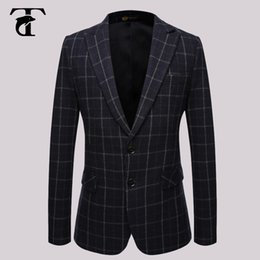 Wholesale Italian Wool Men Suit - Wholesale- 2016 Dark Suit Formal Blazer Formal Men Suit Italian Formal Suits For Men Wool Mens Checked Blazer