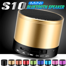 Wholesale Mp3 Speaker Wholesale - S10 Bluetooth Speaker Outdoor Speakers Handfree Mic Stereo Portable Speakers TF Card Call Function DHL Free Shipping No Logo In Retail Box
