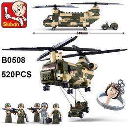 Wholesale Enlighten Helicopter - Sluban Building Blocks B0508 520pcs Transport helicopter Model Toys Enlighten Toys Gift for Children