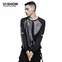 Wholesale leather sleeve sweatshirt mens - Wholesale- VIISHOW Brand fashion Faux leather Hoodies Men casual tracksuit Mens hoodies pullover hip hop sweatshirt Men Cothes Oversize 5