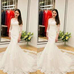 Discount backless wedding dress veils - 2017 New Long Sleeves Lace Mermaid Wedding Dresses Arabic Off-the-shoulder Bridal Gowns Zipper Backless Plus Size Wedding Dresses Free Veil