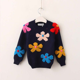 Wholesale Girls Sweater Knit Pattern - Multicolour floral Girls Sweaters Fashion 2017 new Autumn Winter Children Sweaters Knitting Patterns Pullover Sweaters kids Pullover A1198
