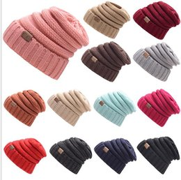 Wholesale Hat Womens - Womens Girls Thick Cap Hat Skully Unisex Slouch Knitted Beanie Adult knitted hat wool hat fashion Outdoor Warm cap KKA2845