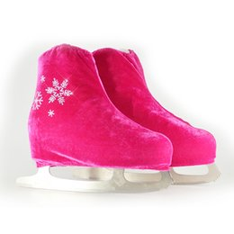 Wholesale adult skate shoes - Wholesale- 24 Colors Child Adult Velvet Ice Figure Skating Shoes Cover Solid Color Roller Skate Accessories Athletic Rose Red Snow Pattern