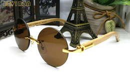 Wholesale Round Bamboo Box - with box 2017 luxury brand sunglasses for men round rimless designer sunglasses women gun wood bamboo frame brown clear lens