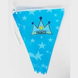 Wholesale Happy Birthday Crown - Wholesale- Kids Boy Baby Happy Birthday Party Decoration Kids Supplies Favors Crown Prince Paper Pennant Banner 12 Flags 1Pack Length 280cm