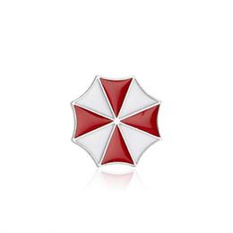 Wholesale Umbrella Jacket - Hot Movie Resident Evil Umbrella Brooch Pin Mini Red Umbrella Logo Brooches For Women Denim Jacket Needle Shirt Badge Jewelry