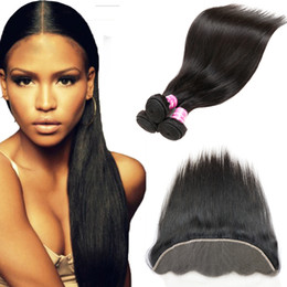 Wholesale Silk Lace Frontal Virgin - Brazilian Virgin Hair Straight Bundles 3 Bundles with 13x4 Top Lace Frontal Closure Silk Base Weaves Closure Hottest Selling Products of2017
