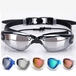 Wholesale Electroplated Goggles - The new swimming goggles swimming earplugs electroplating conjoined glasses fog UV goggles adult