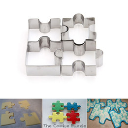 Wholesale Cutter Biscuits - 4Pcs set Cookie Puzzle Shape Stainless Steel Cookie Cutter Set DIY Biscuit Mold Dessert Bakeware Cake Mold EJ876972