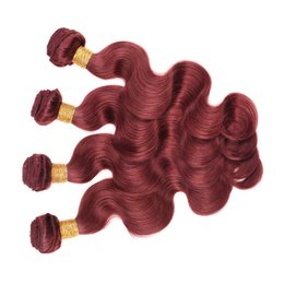 Wholesale 33 Body Wave - PASSION Red Color Hair Malaysian Body Wave Extensions 4 Bundles Body Wave Virgin Hair Colored #33 Dark Auburn Remy Human Hair Bundles Weave