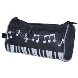Wholesale Pink Piano Keyboard - Pencil Bag Piano Keyboard Water-proof Zippered Stationery Pencil Pouch Case Pen Bag Black