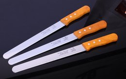 Wholesale Cake Knife Wooden Handle - Wholesale- Stainless Steel Baking Tool 10 Inch Wooden Handle Spatula Pastry Cream Knife Blade birthday Cake tool bread knife free shipping