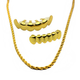 Wholesale Golden Teeth - New Gold Plated Hip Hop Teeth Grillz Caps Top & Bottom Vampire Grill Set with 6mm Golden Rapper's Chain Necklace
