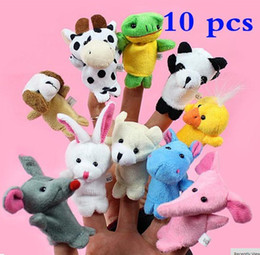 Wholesale Group Children - 10 pcs set Baby Plush Toy Finger Puppets Tell Story Props Animal Doll Hand Puppet Kids Toys Children Gift with 10 Animal Group
