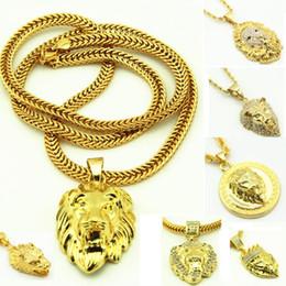 Wholesale Lion Head Necklace Wholesale - Hip Hop Pendant Necklace Mens Punk Style 18 20K Alloy Gold Plated Lion Head Charm Pendant High Quality Cuban Chain