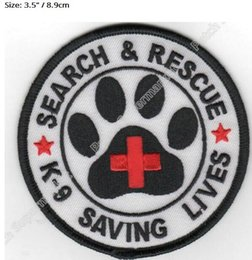 "Wholesale Work Badge - 3.5"" Search & Rescue K-9 Saving Lives Working Dog Service Dog K9 Iron On Patch Tshirt TRANSFER APPLIQUE Rock Punk Badge"