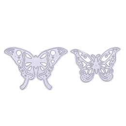 Wholesale Metal Die - 2pcs set Cutting Dies Metal Butterfly Cutting Dies Stencils for DIY Cutting Dies Die Cut Stencil Decorative Scrapbooking Craft