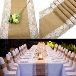 Wholesale Table Runners For Weddings Wholesale - Jute Table Runner Wedding Table Decor Vintage Burlap Lace Tablecloth for Party Home Decor for Table Decoration Hot Sale