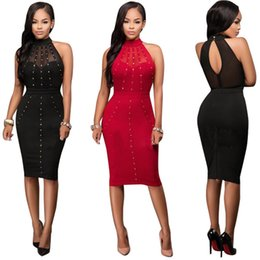 Wholesale Girl S Night - Women Lay Girl Casual Net Yarn Rivet Slim Sexy Pencil Skirt Nightclub Evening Party Dress 3054