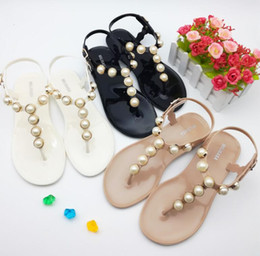 Wholesale Leather Lace Thong - New fashion pearl sandal 2017 summer women's sandal thong sandal simple design students jelly shoes Roman sandals flat base shoes