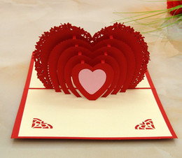 Wholesale Diy Greeting Cards - 10pcs 3d folding heart wedding card engagement invitation greeting cards diy wedding party wish card with envelop girlfriend