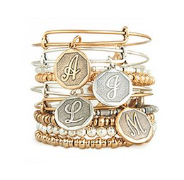 Wholesale Numbers Silver Bracelet - 26pcs Silver Gold Letter A-Z Bangles Bracelets For Women Snap Button Bangle Ship Anchor Vintage Gold Bangles Pulseiras Bracelets