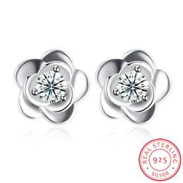 Argentina Exquisito flor de rosa Stud Clear Zircon Crystal 925 Pendiente de plata esterlina para niña Hecho en China Envío gratis Suministro