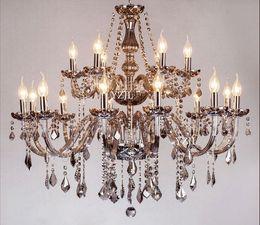 Canada Gris fumée luxe salon chambre salle à manger haut de gamme bougie lustre en cristal lustre en cristal éclairage Offre