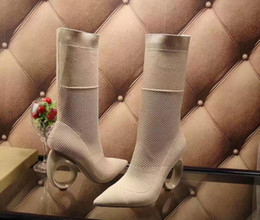 Wholesale Knitted Calf Boots - 2017 summer spring Womens beige nude black stretch knit Pointed toe cutouts high heel Fashion pull on mid calf sock boots