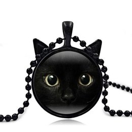 Wholesale Cat Face Necklace - High quality Black Cat Face Time Gemstone Necklace Cat Ear Pendant Itemion Sweater Chain WFN372 (with chain) mix order 20 pieces a lot