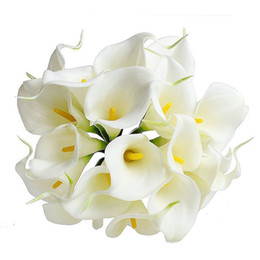 Wholesale Silk Flowers Calla Lilies - Wholesale-Artificial Bouquet Delicate Calla Lily Fake Silk Flowers Wedding Home Decor Free Shipping