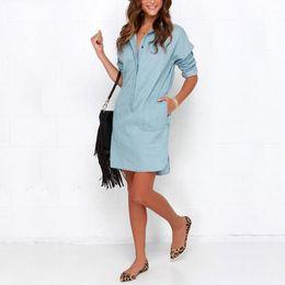 Wholesale Women Long Jean Dresses - Hot Sales Women Washed Denim Jean Dress Loose Casual Long Sleeve Shirt Dress Autumn