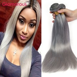 Wholesale Wholesale Gray Weaving Hair - Glamorous Grey Human Hair Weaves Factory Offer Gray Hair Extensions Peruvian Indian Malaysian Brazilian Body Wave Straight Hair 3 Bundles
