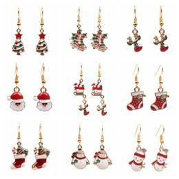 Wholesale New Cartoon Earrings - New Christmas cartoon women's Drop Earrings Alloy Father Christmas Snowman Tree Dangle & Chandelier Earring For Ladies Fashion Jewelry Gift
