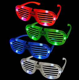 Wholesale new years led glasses - LED Light Glasses Flashing Shutters Shape Glasses LED Flash Glasses Sunglasses Dances Party Supplies Festival Decoration