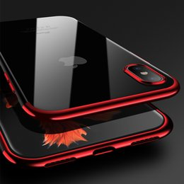 Wholesale 8x Wholesale - Diforate For iPhone X Case Ultra Thin Cover 8X Bumper Cafele Full Coverage Half Plating Transparent Clear TPU Silicone Soft Cover